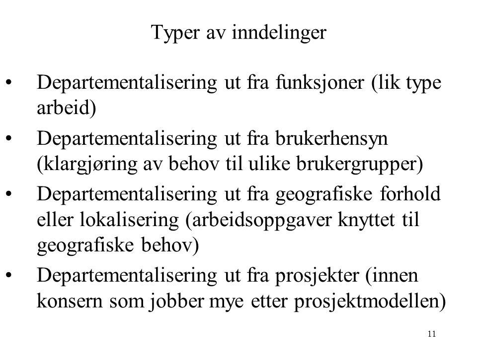Typer av inndelinger Departementalisering ut fra funksjoner (lik type arbeid)