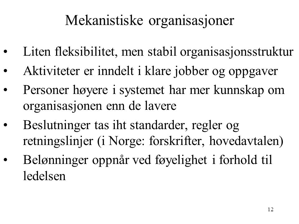 Mekanistiske organisasjoner