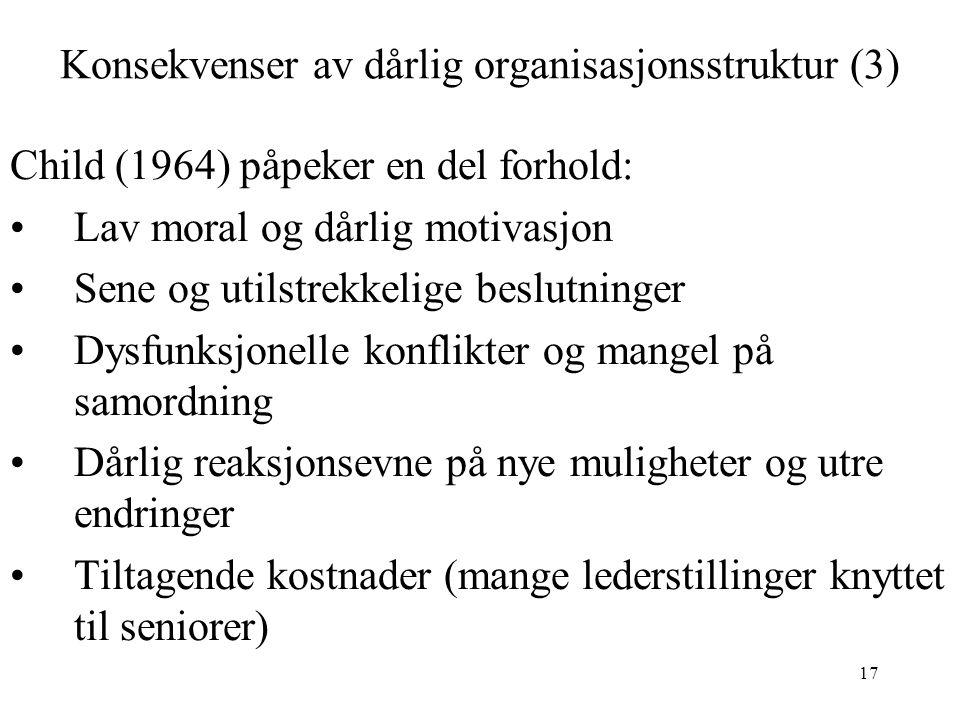 Konsekvenser av dårlig organisasjonsstruktur (3)