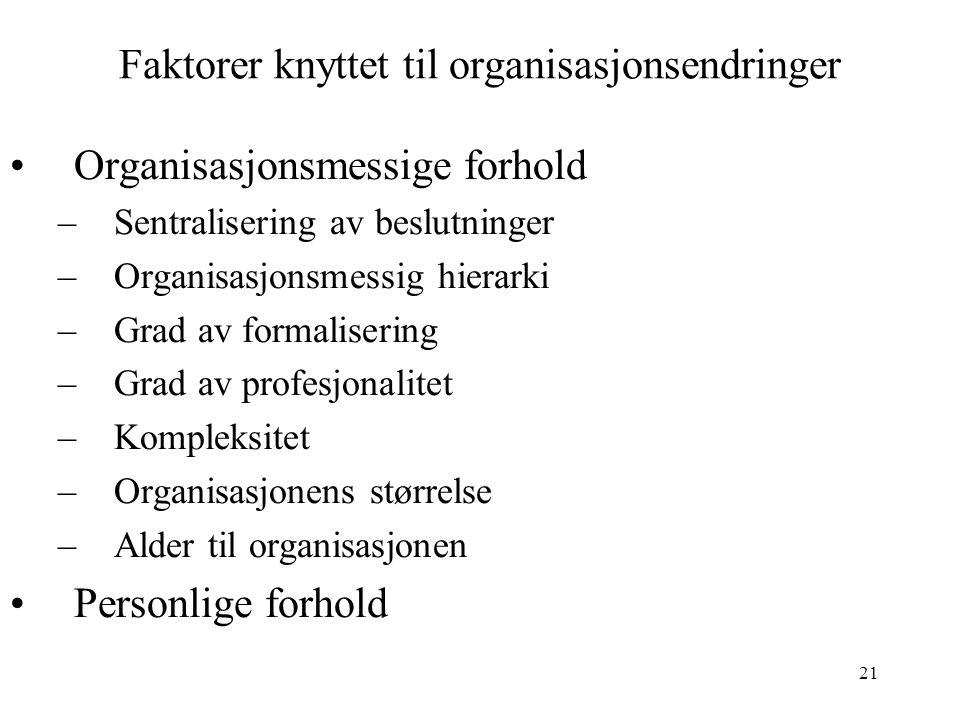 Faktorer knyttet til organisasjonsendringer