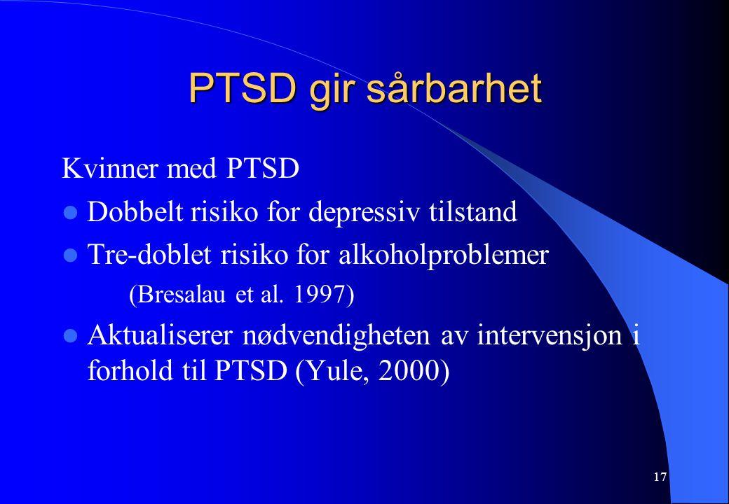 PTSD gir sårbarhet Kvinner med PTSD