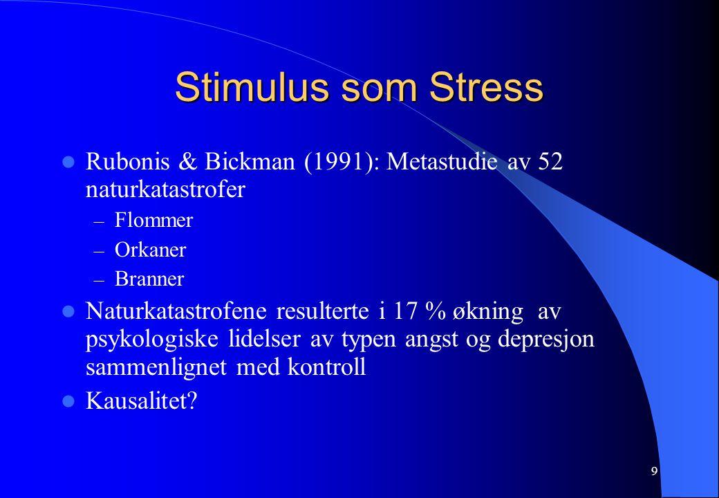 Stimulus som Stress Rubonis & Bickman (1991): Metastudie av 52 naturkatastrofer. Flommer. Orkaner.