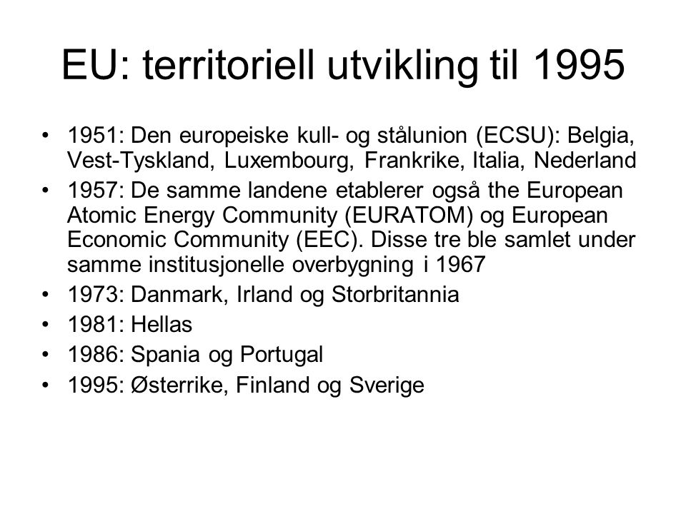 EU: territoriell utvikling til 1995