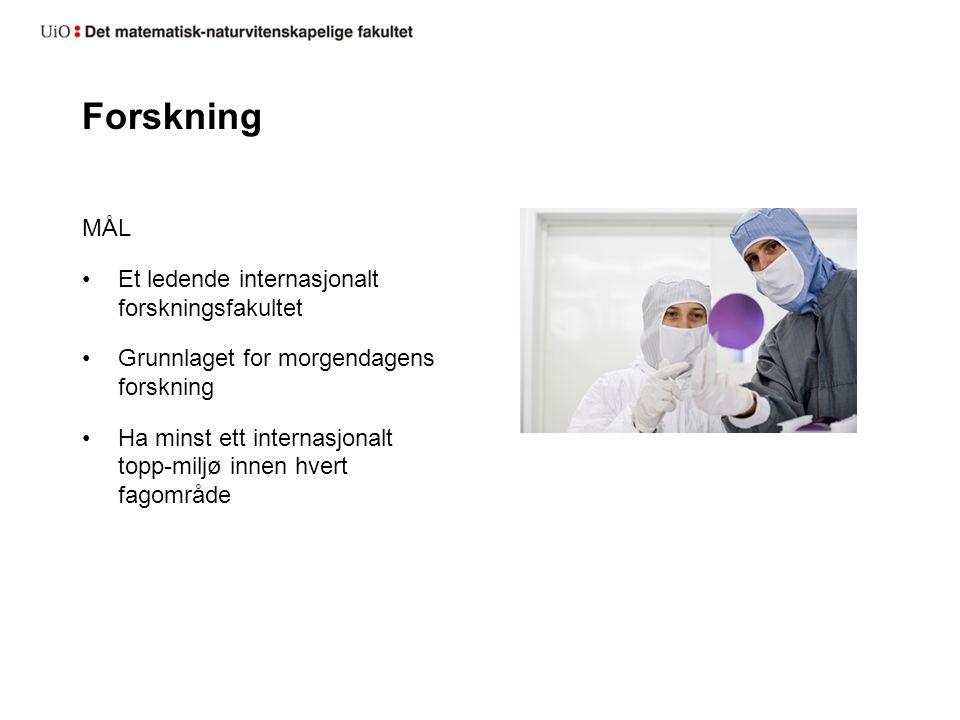 Forskning MÅL Et ledende internasjonalt forskningsfakultet