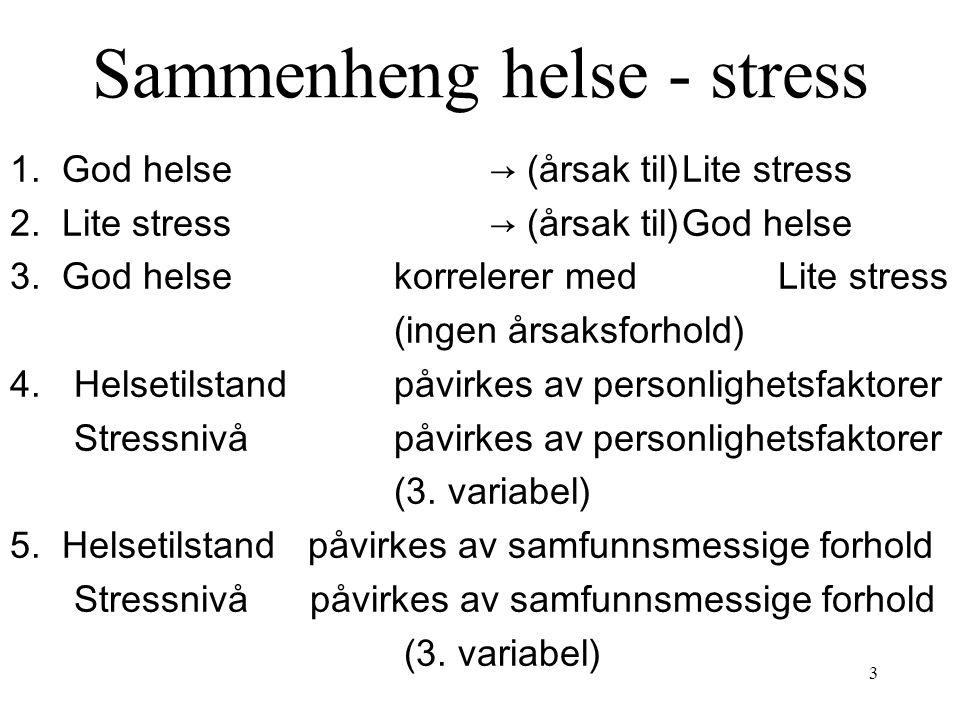Sammenheng helse - stress