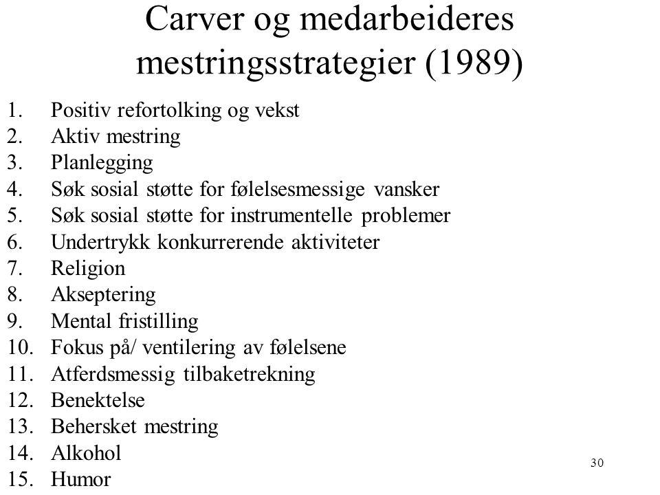 Carver og medarbeideres mestringsstrategier (1989)