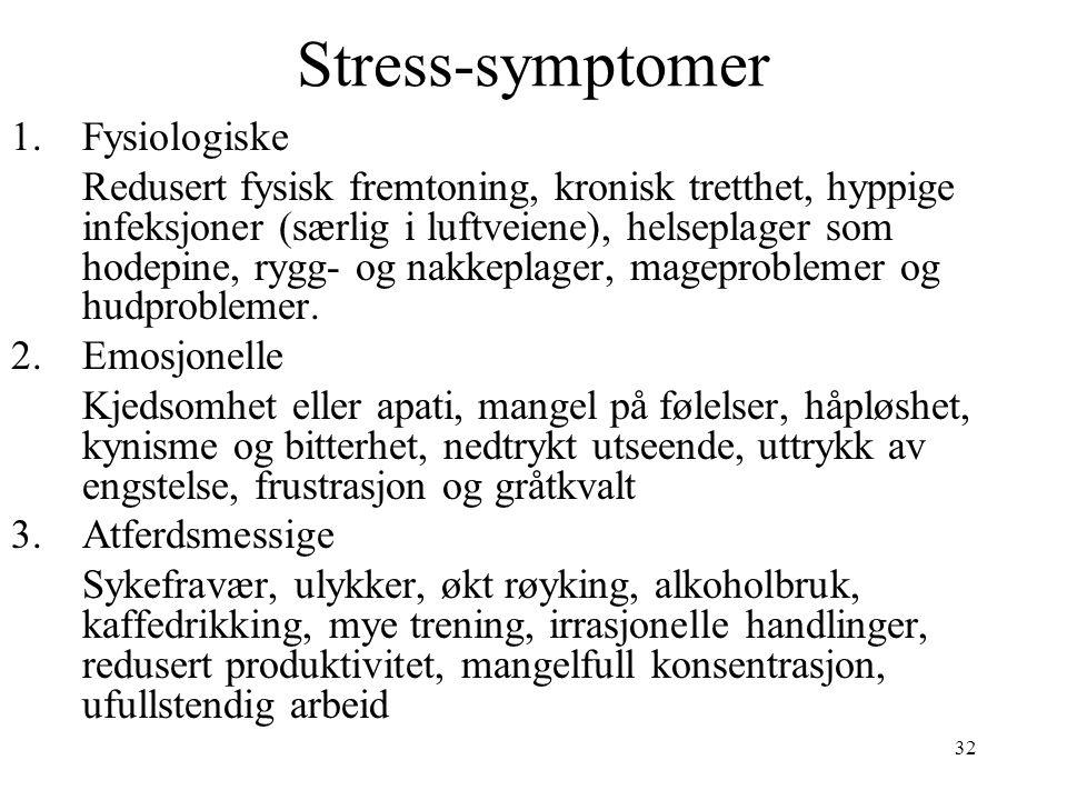 Stress-symptomer Fysiologiske