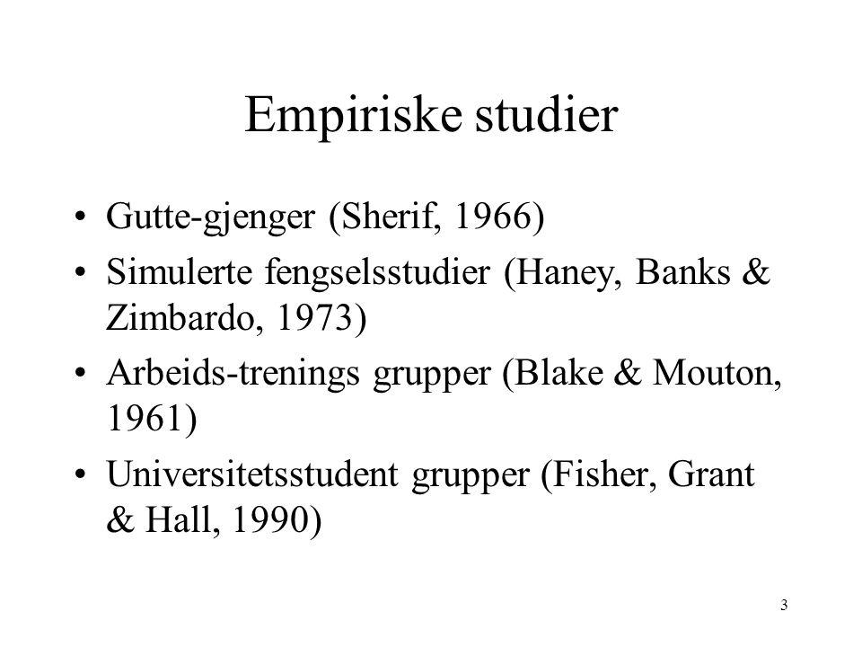Empiriske studier Gutte-gjenger (Sherif, 1966)