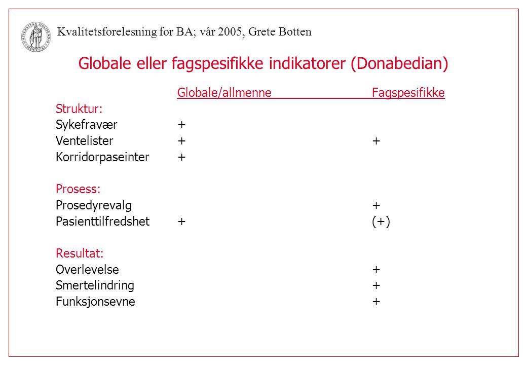 Globale eller fagspesifikke indikatorer (Donabedian)
