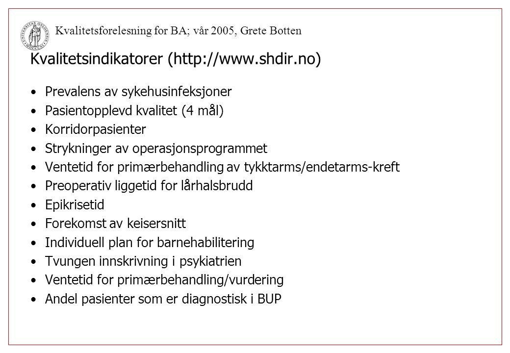 Kvalitetsindikatorer (http://www.shdir.no)