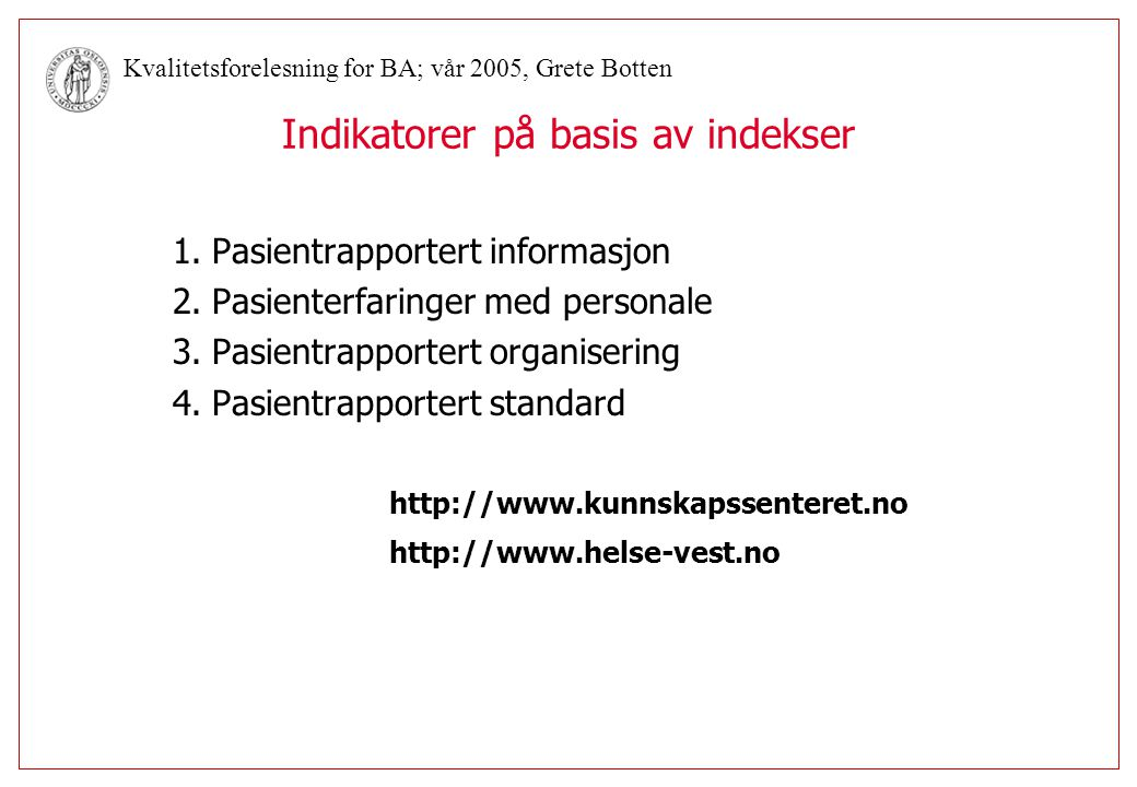 Indikatorer på basis av indekser
