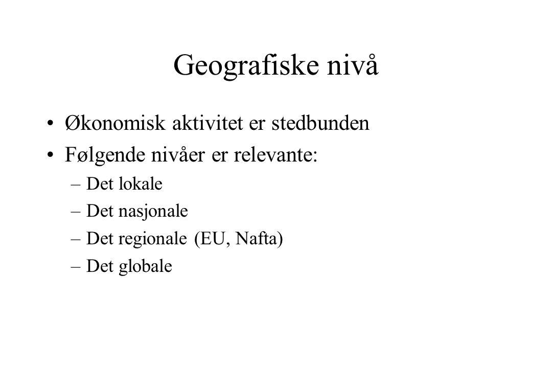 Geografiske nivå Økonomisk aktivitet er stedbunden