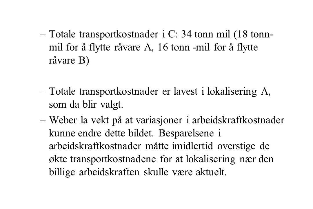 Totale transportkostnader i C: 34 tonn mil (18 tonn-mil for å flytte råvare A, 16 tonn -mil for å flytte råvare B)