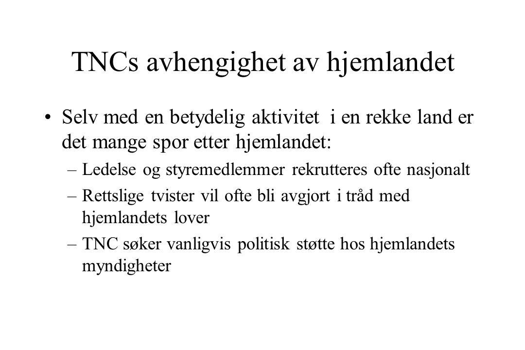 TNCs avhengighet av hjemlandet