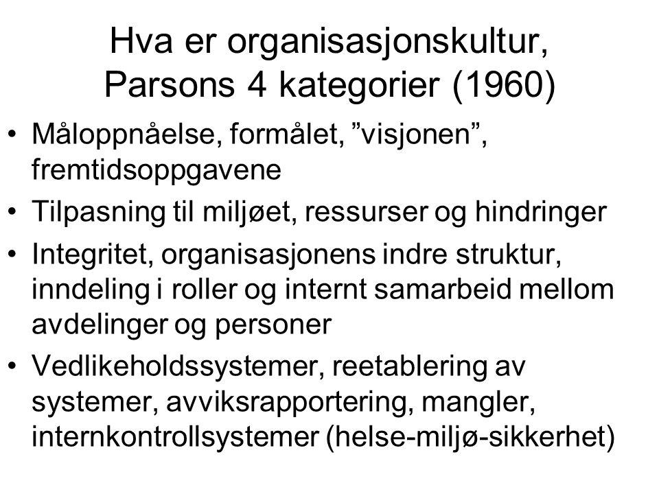 Hva er organisasjonskultur, Parsons 4 kategorier (1960)