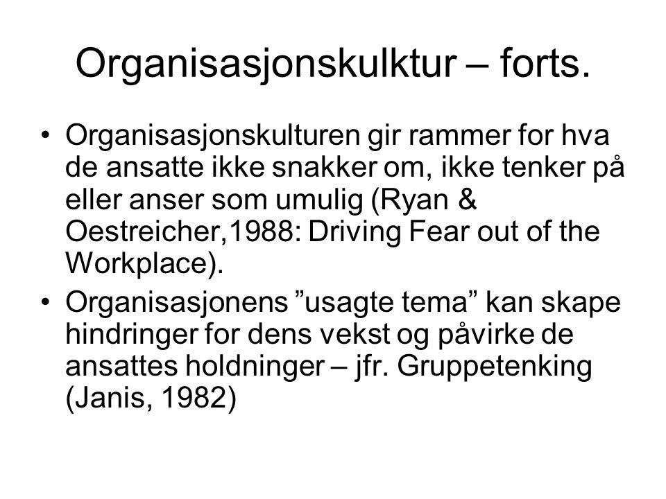 Organisasjonskulktur – forts.
