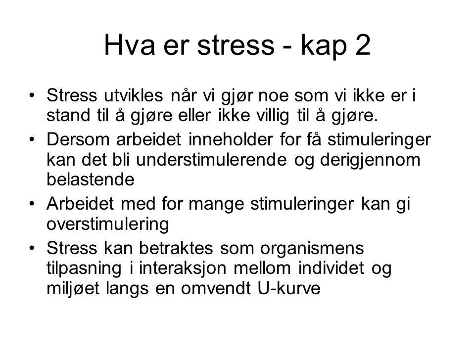 Hva er stress - kap 2 Stress utvikles når vi gjør noe som vi ikke er i stand til å gjøre eller ikke villig til å gjøre.