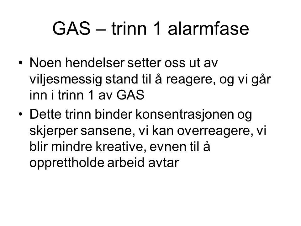 GAS – trinn 1 alarmfase Noen hendelser setter oss ut av viljesmessig stand til å reagere, og vi går inn i trinn 1 av GAS.