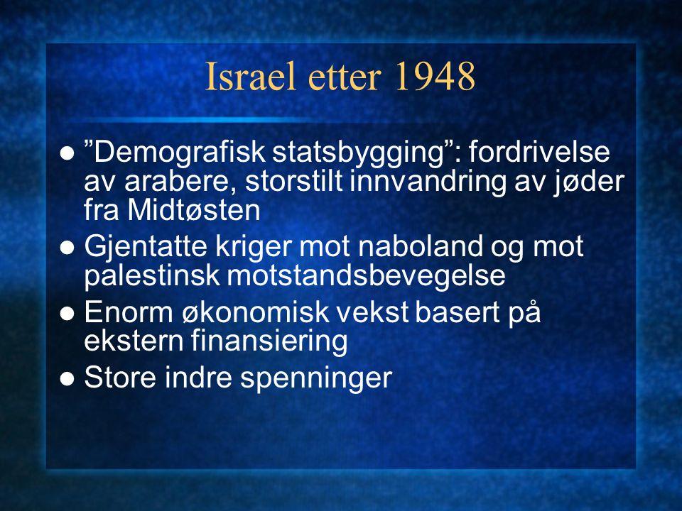 Israel etter 1948 Demografisk statsbygging : fordrivelse av arabere, storstilt innvandring av jøder fra Midtøsten.