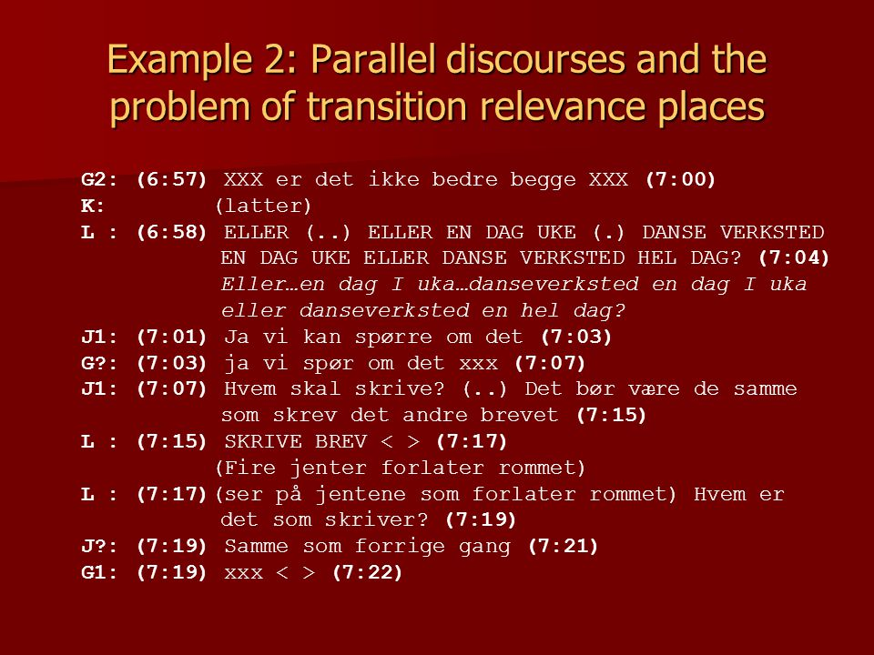 Example 2: Parallel discourses and the problem of transition relevance places