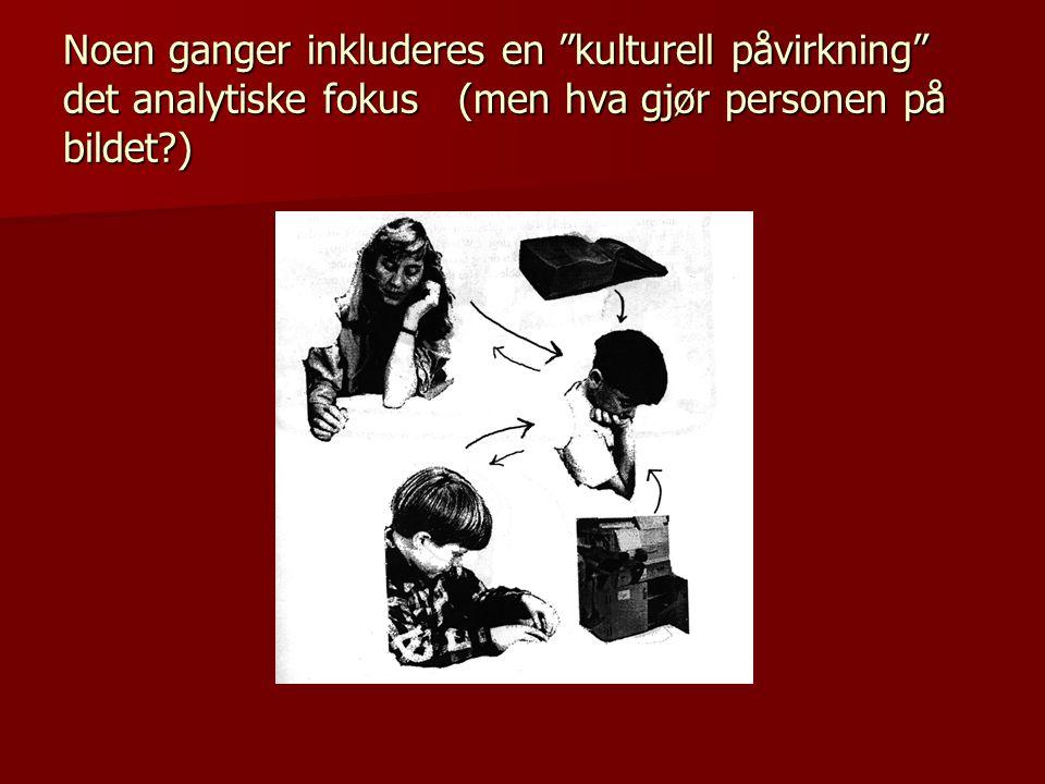 Noen ganger inkluderes en kulturell påvirkning det analytiske fokus (men hva gjør personen på bildet )