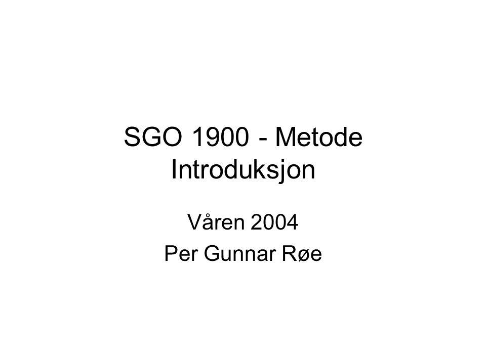 SGO 1900 - Metode Introduksjon
