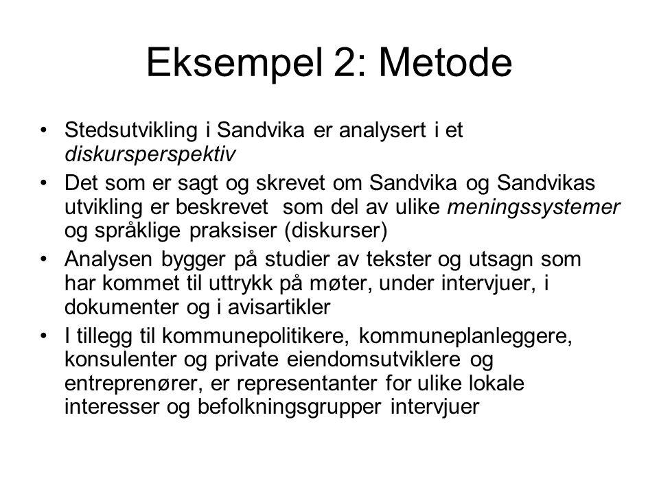 Eksempel 2: Metode Stedsutvikling i Sandvika er analysert i et diskursperspektiv.