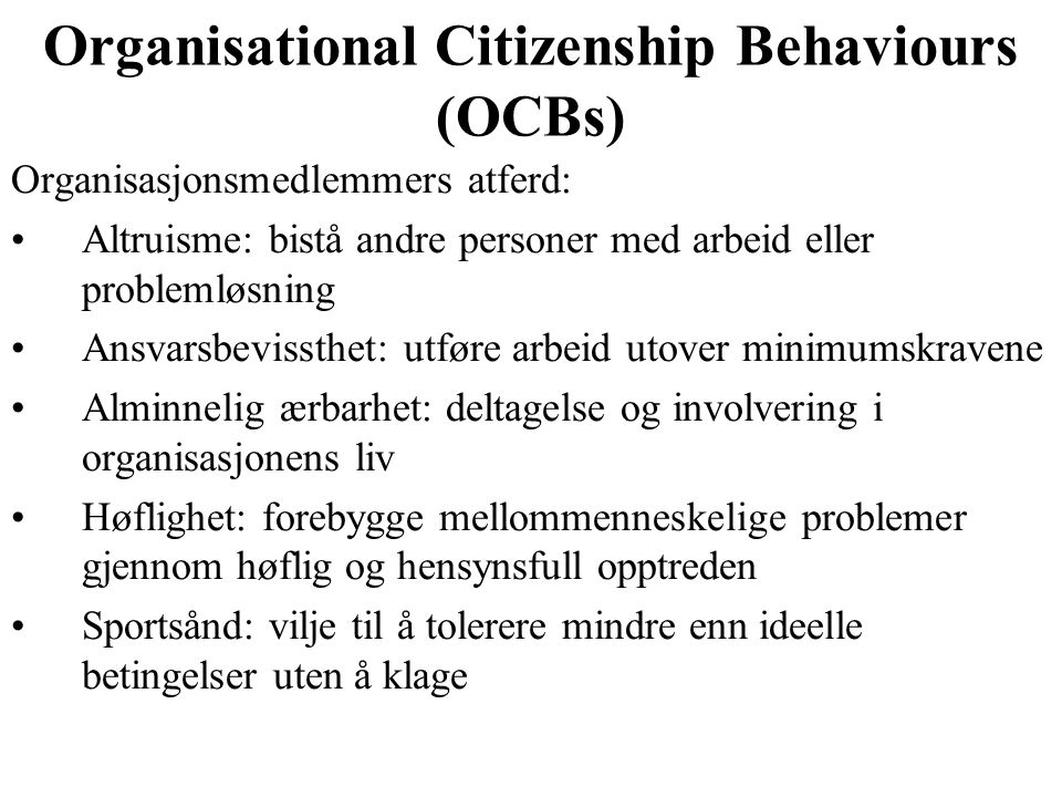Organisational Citizenship Behaviours (OCBs)