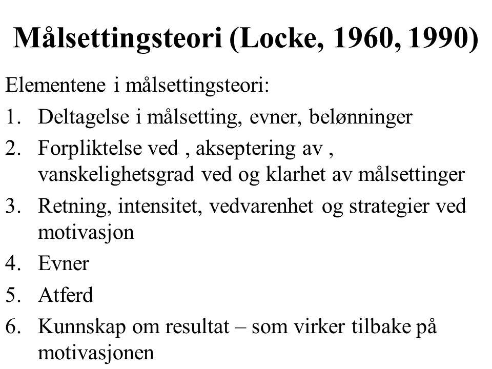 Målsettingsteori (Locke, 1960, 1990)