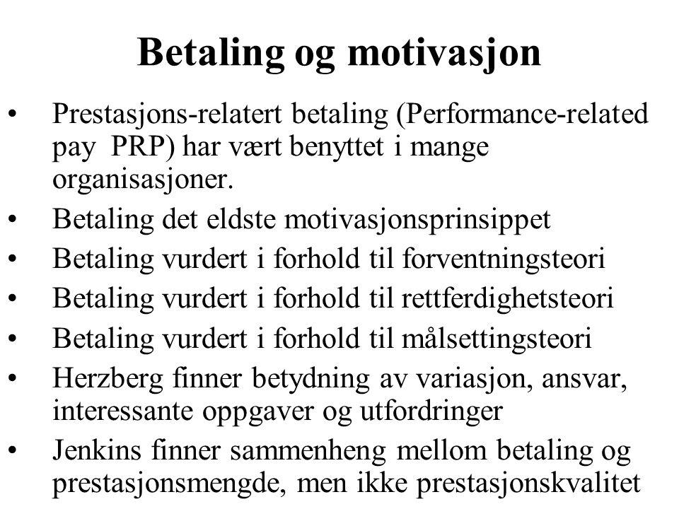 Betaling og motivasjon