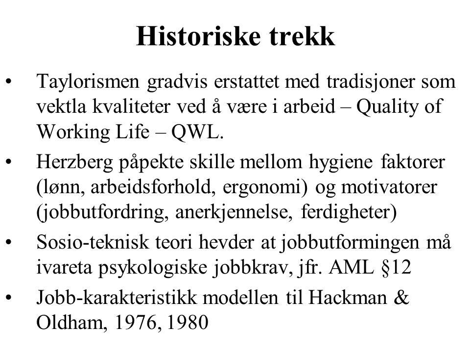 Historiske trekk Taylorismen gradvis erstattet med tradisjoner som vektla kvaliteter ved å være i arbeid – Quality of Working Life – QWL.