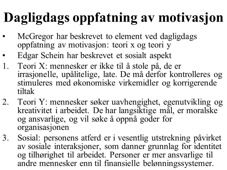 Dagligdags oppfatning av motivasjon