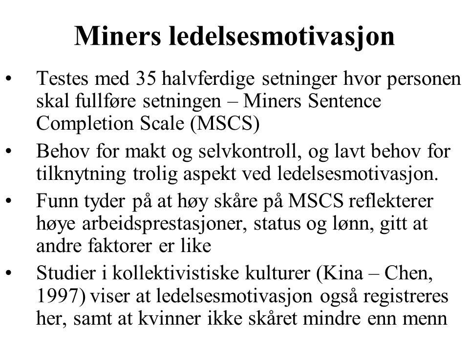 Miners ledelsesmotivasjon