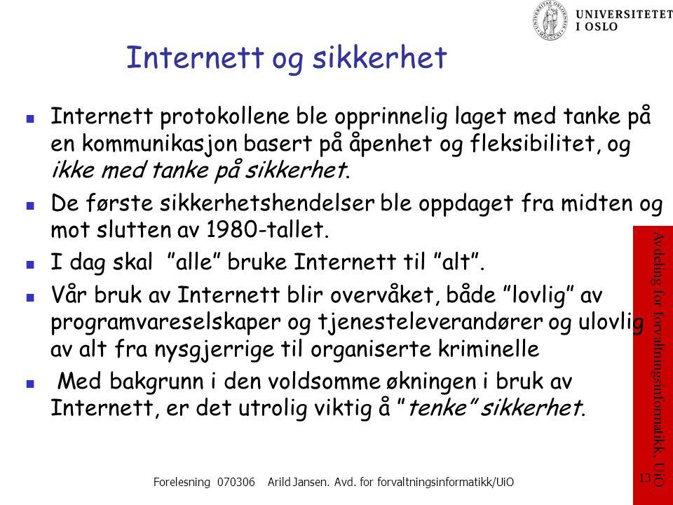 Internett og sikkerhet