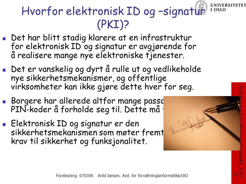 Hvorfor elektronisk ID og –signatur (PKI)