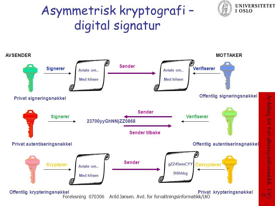 Asymmetrisk kryptografi – digital signatur
