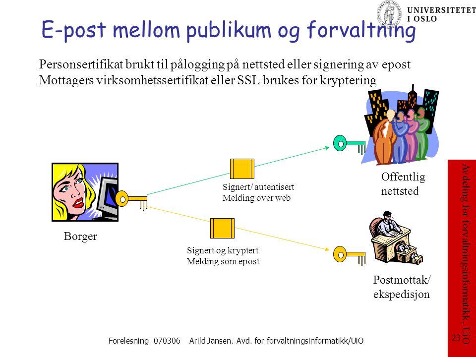 E-post mellom publikum og forvaltning
