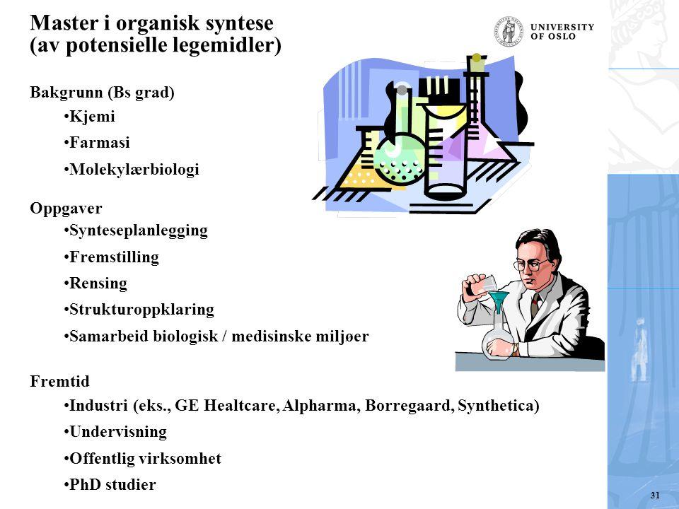Master i organisk syntese (av potensielle legemidler)