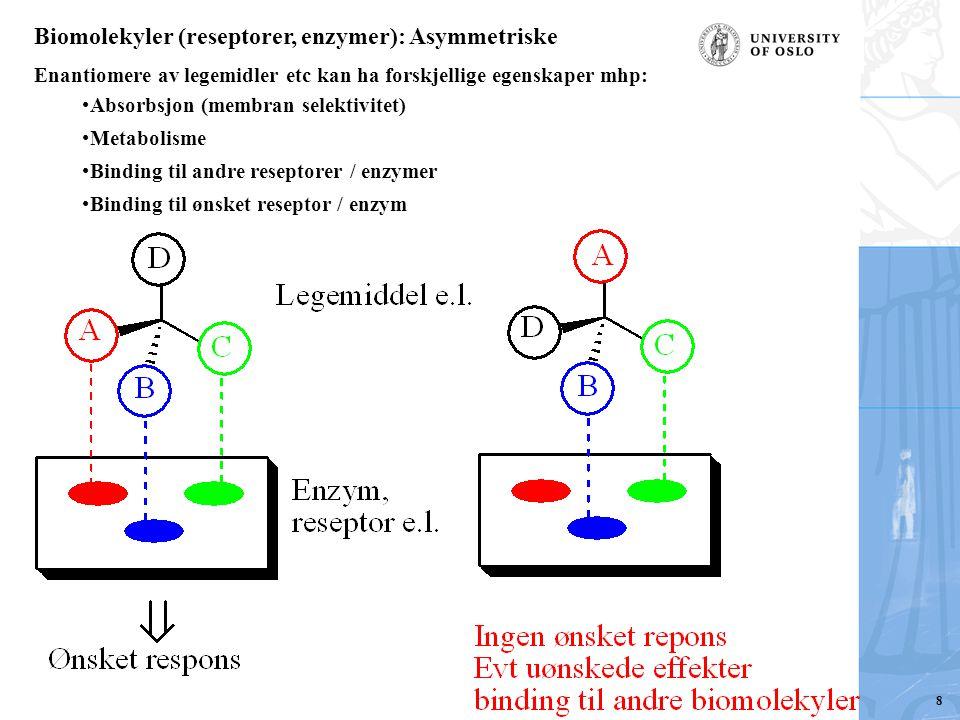 Biomolekyler (reseptorer, enzymer): Asymmetriske