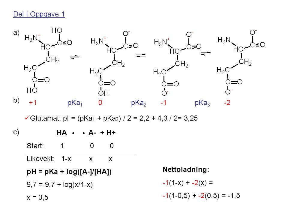 Del I Oppgave 1 a) b) +1 pKa1 0 pKa2 -1 pKa3 -2. Glutamat: pI = (pKa1 + pKa2) / 2 = 2,2 + 4,3 / 2= 3,25.