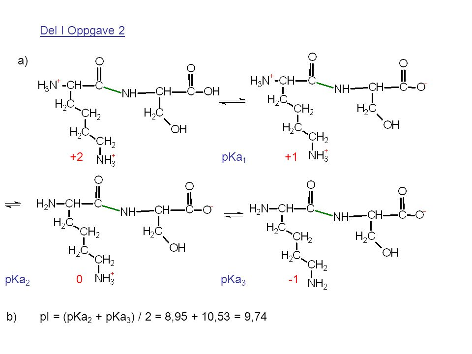 Del I Oppgave 2 a) +2 pKa1 +1. pKa2 0 pKa3 -1.
