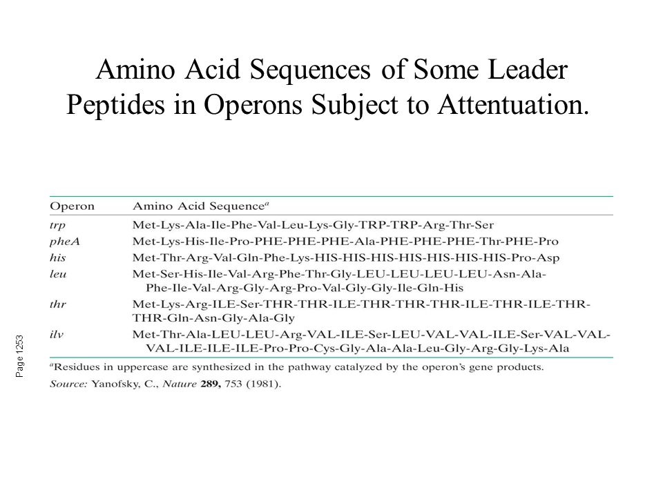 Amino Acid Sequences of Some Leader Peptides in Operons Subject to Attentuation.