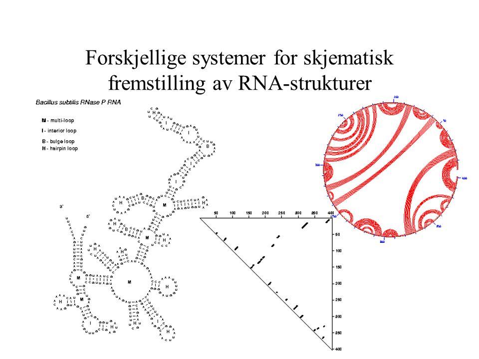 Forskjellige systemer for skjematisk fremstilling av RNA-strukturer