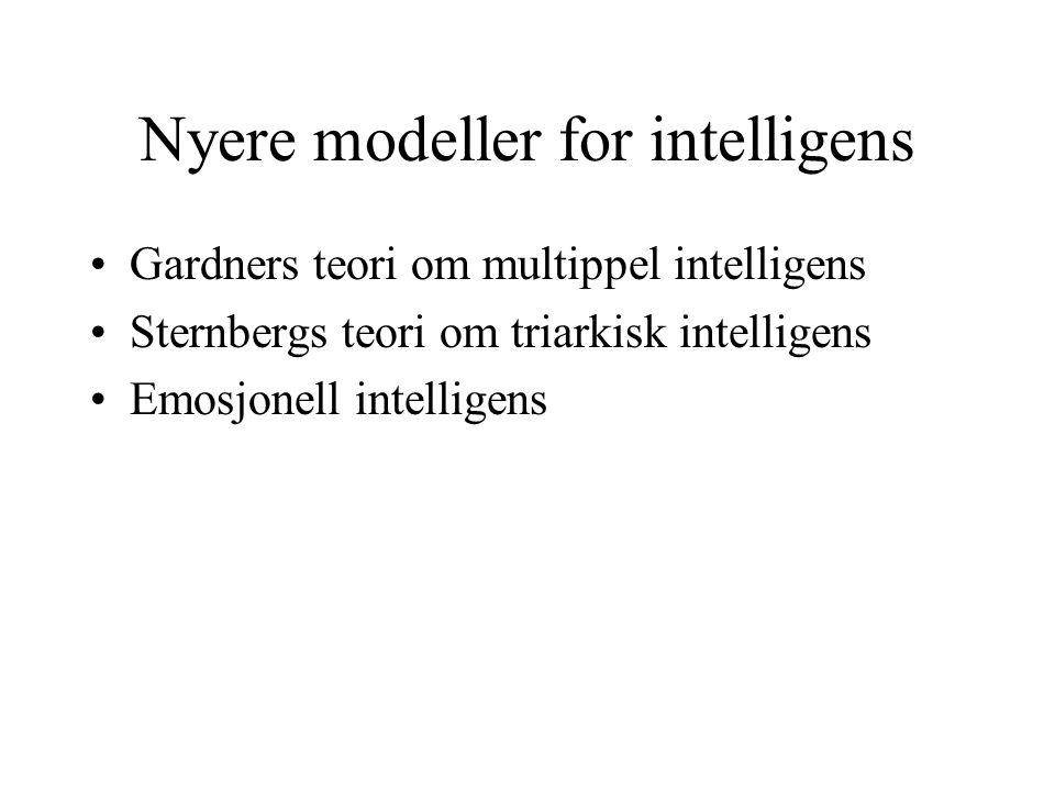 Nyere modeller for intelligens