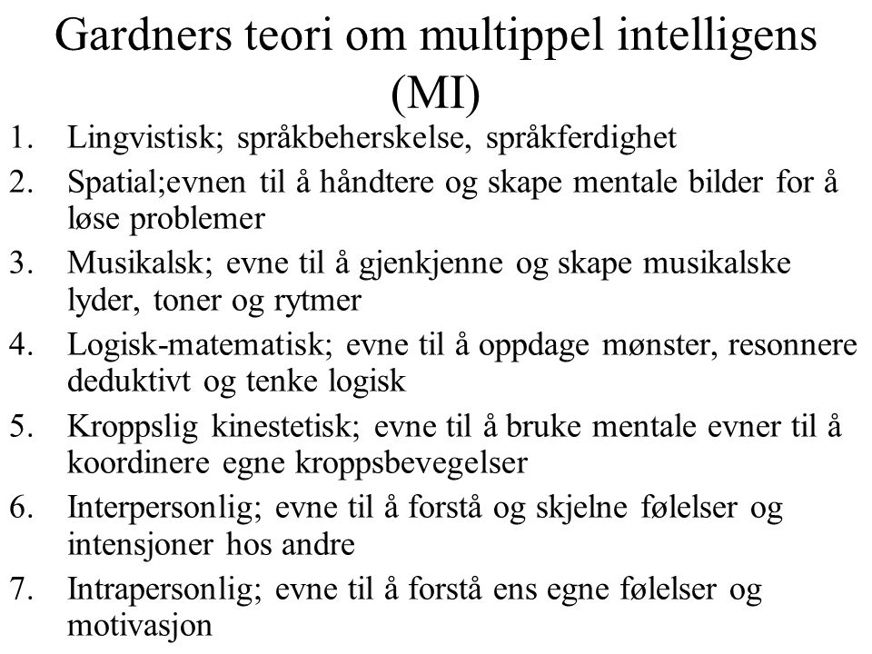 Gardners teori om multippel intelligens (MI)