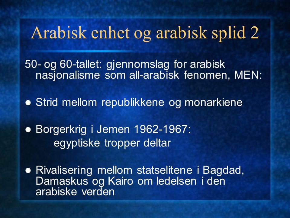 Arabisk enhet og arabisk splid 2