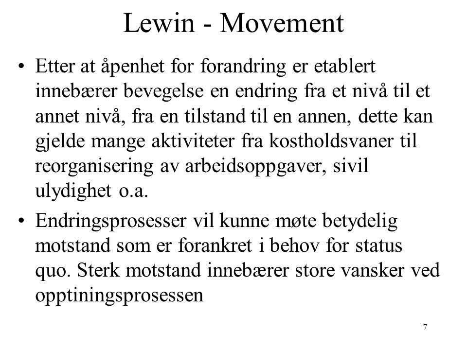 Lewin - Movement