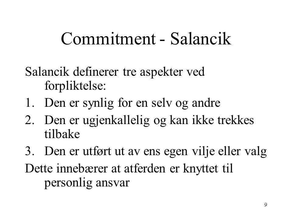 Commitment - Salancik Salancik definerer tre aspekter ved forpliktelse: Den er synlig for en selv og andre.