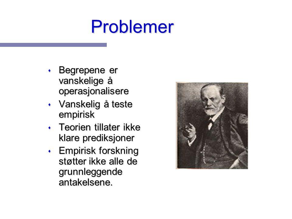 Problemer Begrepene er vanskelige å operasjonalisere