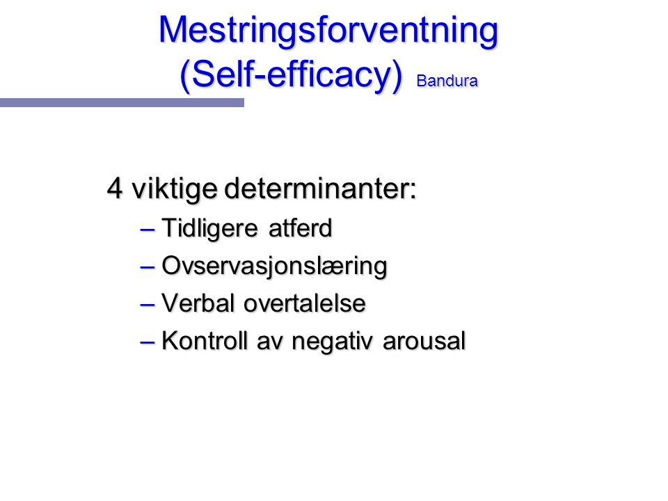 Mestringsforventning (Self-efficacy) Bandura